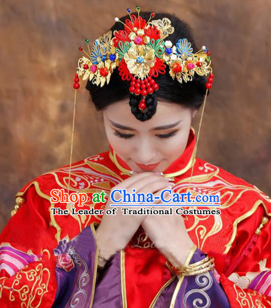 Traditional Handmade Chinese Ancient Classical Hair Accessories Bride Wedding Tassel Forehead Ornament, Xiuhe Suit Hair Jewellery Hair Fascinators Hairpins for Women
