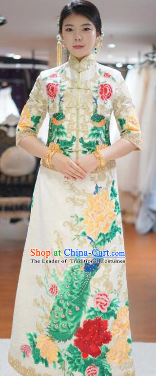 Traditional Ancient Chinese Wedding Costume Handmade XiuHe Suits Embroidery Peacock Dress Bride Toast Cheongsam, Chinese Style Hanfu Wedding Clothing for Women