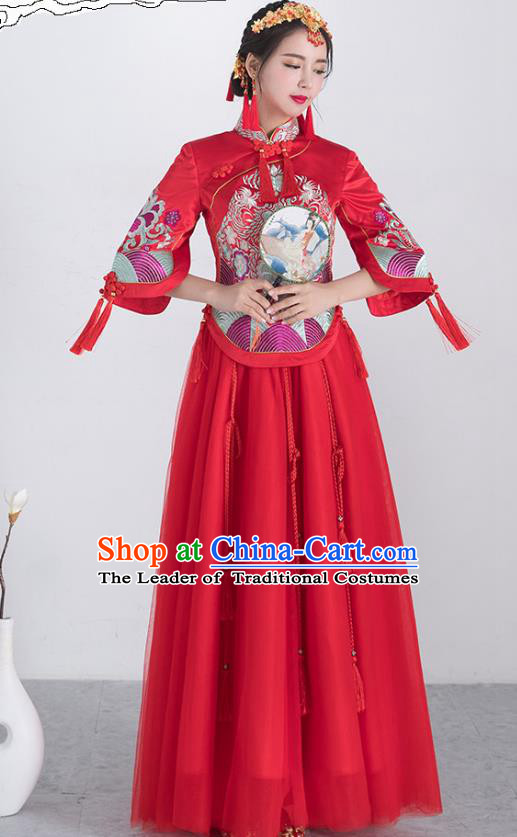 Traditional Ancient Chinese Wedding Costume Handmade Embroidery Bottom Drawer Xiuhe Suits, Chinese Style Wedding Dress Red Flown Bride Toast Cheongsam for Women