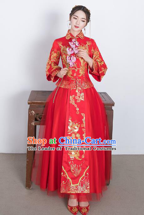 Traditional Ancient Chinese Wedding Costume Handmade Delicacy Embroidery Lace Dress Xiuhe Suits, Chinese Style Wedding Dress Red Flown Bride Toast Cheongsam for Women