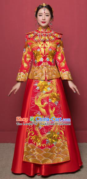 Traditional Ancient Chinese Wedding Costume Handmade Delicacy Embroidery Dragon and Phoenix XiuHe Suits, Chinese Style Wedding Dress Flown Bride Toast Cheongsam for Women