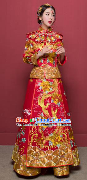 Traditional Ancient Chinese Wedding Costume Handmade Delicacy Full Embroidery Dragon and Phoenix XiuHe Suits, Chinese Style Wedding Dress Flown Bride Toast Cheongsam for Women