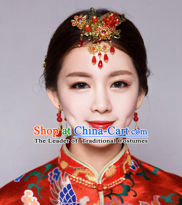 Traditional Handmade Chinese Ancient Classical Hair Accessories Bride Wedding Barrettes Hair Sticks, Xiuhe Suit Hair Jewellery Hair Fascinators Hairpins for Women