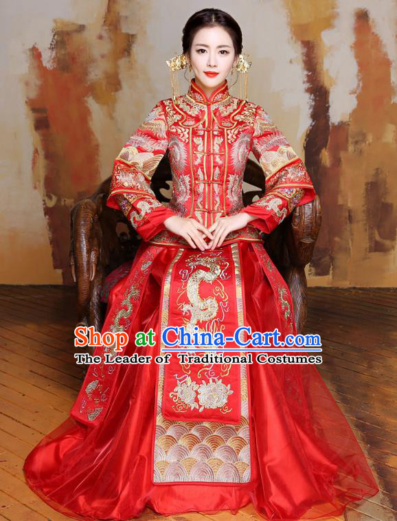 Traditional Ancient Chinese Wedding Costume Handmade Delicacy Embroidery Longfeng Flown XiuHe Suits, Chinese Style Hanfu Wedding Dress Bride Toast Cheongsam for Women