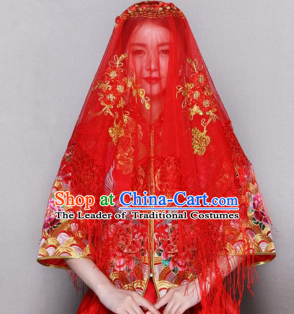 Traditional Ancient Chinese Wedding Embroidery Tassel Lace Red Veil, Chinese Style Wedding Red Bridal Veil for Women