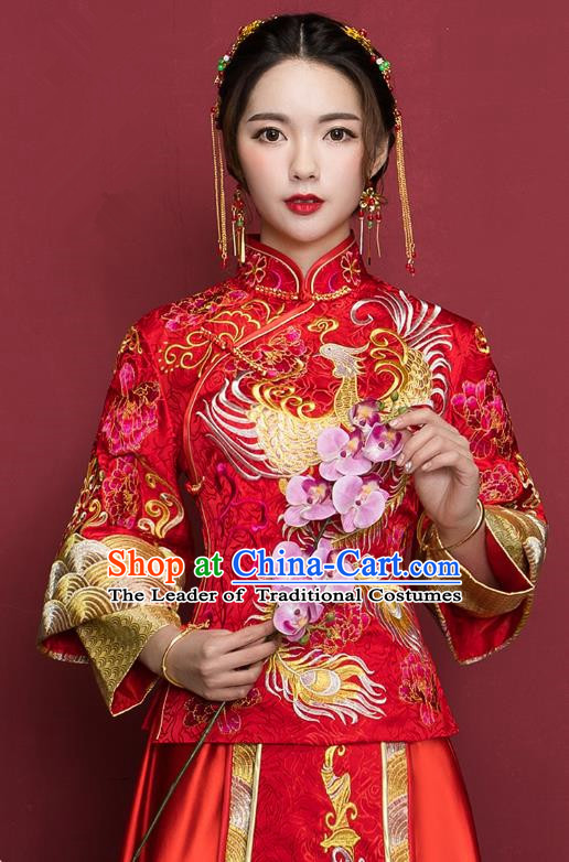 Traditional Ancient Chinese Wedding Costume Handmade Delicacy Embroidery Phoenix XiuHe Suits Plated Buttons Dress, Chinese Style Hanfu Wedding Bride Toast Cheongsam for Women