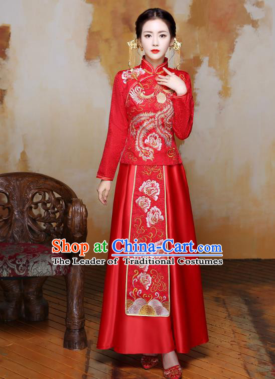 Traditional Ancient Chinese Wedding Costume Handmade Delicacy Embroidery Phoenix XiuHe Suits Slim Red Dress, Chinese Style Hanfu Wedding Bride Toast Cheongsam for Women