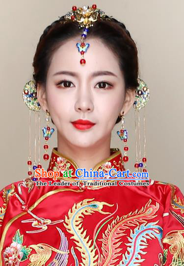 Traditional Handmade Chinese Ancient Classical Hair Accessories Complete Set Bride Wedding Barrettes Hair Comb, Xiuhe Suit Hair Jewellery Hair Fascinators Hairpins for Women