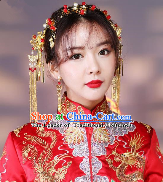 Traditional Handmade Chinese Ancient Classical Hair Accessories Bride Wedding Tassel Barrettes Hair Comb, Xiuhe Suit Hair Jewellery Hair Fascinators Hairpins for Women