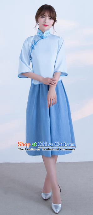 Traditional Ancient Chinese Wedding Costume Handmade Delicacy Plated Buttons Qipao Dress, Chinese Style Hanfu Wedding Blue Cheongsam for Women