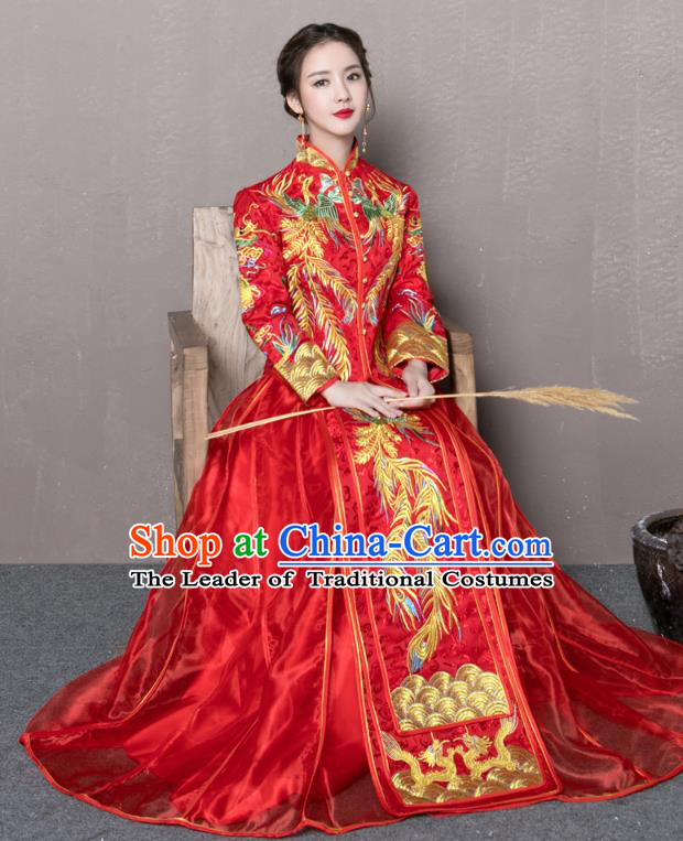 Traditional Ancient Chinese Wedding Costume Handmade Delicacy Embroidery Phoenix Peony Red XiuHe Suits, Chinese Style Hanfu Wedding Toast Cheongsam for Women