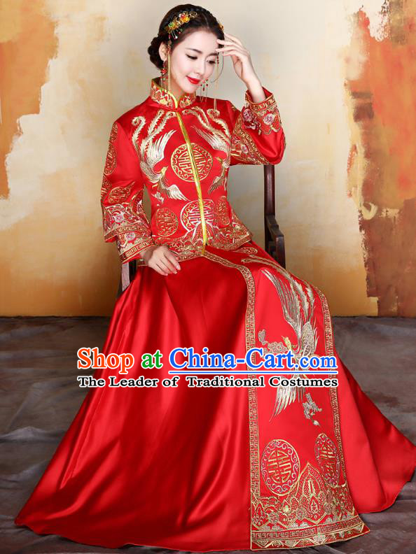 Traditional Ancient Chinese Wedding Costume Handmade Delicacy Embroidery Phoenix XiuHe Suits Longfeng Flown, Chinese Style Hanfu Wedding Toast Cheongsam for Women
