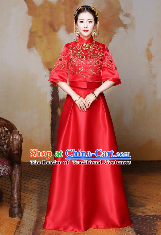 Traditional Ancient Chinese Wedding Costume Handmade Delicacy Embroidery XiuHe Suits Longfeng Flown, Chinese Style Hanfu Wedding Toast Cheongsam for Women