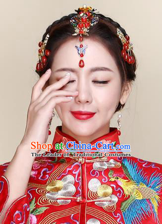 Traditional Handmade Chinese Ancient Classical Hair Accessories Bride Wedding Tassel Red Hair Clasp, Xiuhe Suit Hair Jewellery Hair Fascinators Hairpins for Women