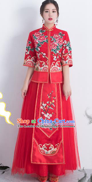 Traditional Ancient Chinese Wedding Costume Handmade Delicacy Embroidery Peony XiuHe Suits Longfeng Flown, Chinese Style Hanfu Wedding Toast Cheongsam for Women