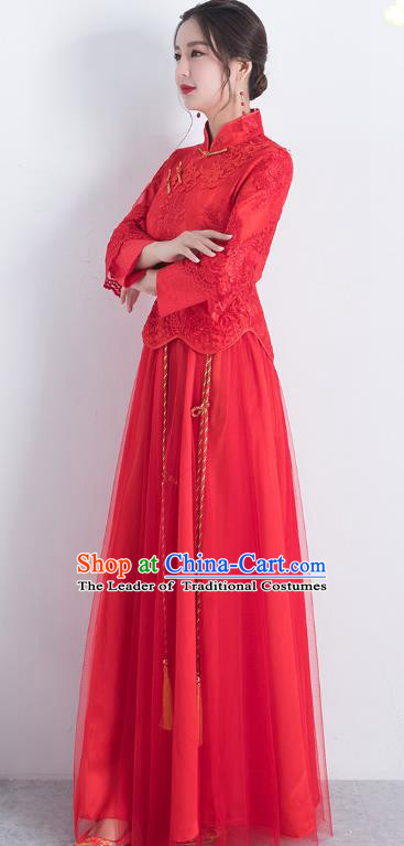 Traditional Ancient Chinese Wedding Costume Handmade Delicacy Embroidery Red Veil XiuHe Suits, Chinese Style Hanfu Wedding Bride Toast Cheongsam for Women