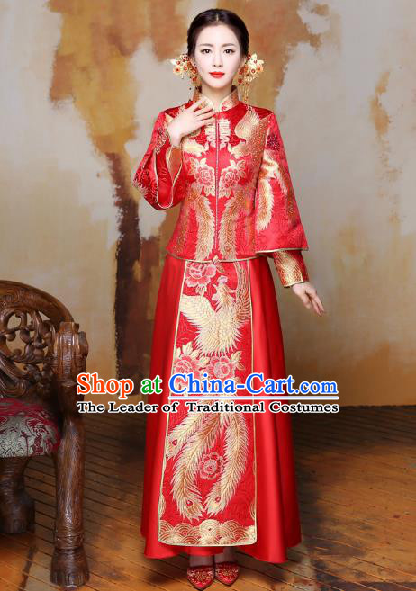 Traditional Ancient Chinese Wedding Costume Handmade Delicacy XiuHe Suits Embroidery Bottom Drawer, Chinese Style Hanfu Wedding Bride Toast Cheongsam for Women