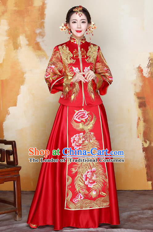 Traditional Ancient Chinese Wedding Costume Handmade Delicacy XiuHe Suits Embroidery Phoenix Bottom Drawer, Chinese Style Hanfu Wedding Bride Toast Cheongsam for Women