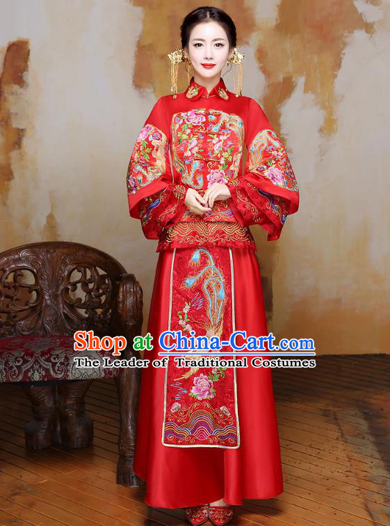 Traditional Ancient Chinese Wedding Costume Handmade Delicacy XiuHe Suits Embroidery Phoenix Bottom Drawer, Chinese Style Hanfu Wedding Bride Hanfu Clothing for Women