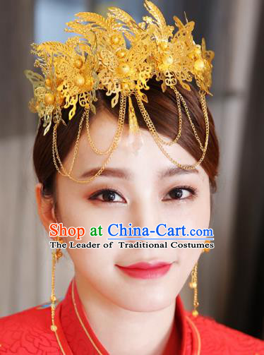 Traditional Handmade Chinese Ancient Classical Hair Accessories Bride Wedding Barrettes Golden Phoenix Coronet, Xiuhe Suit Hair Jewellery Hair Fascinators Hairpins for Women