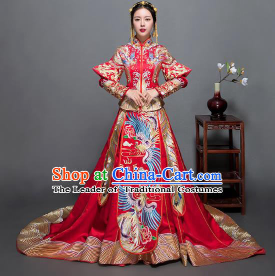 Traditional Ancient Chinese Wedding Costume Handmade Delicacy XiuHe Suits Embroidery Phoenix Palace Trailing Bottom Drawer Cheongsam Dress, Chinese Style Hanfu Wedding Bride Hanfu Clothing for Women