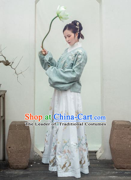 Traditional Ancient Chinese Ming Dynasty Palace Lady Costume Embroidered Bust Skirt, Elegant Hanfu Clothing Chinese Imperial Princess Skirts for Women