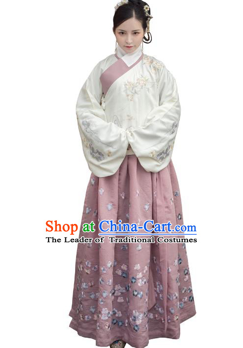 Traditional Ancient Chinese Ming Dynasty Imperial Princess Costume Embroidery Long Skirt, Elegant Hanfu Clothing Chinese Palace Lady Bust Skirt for Women