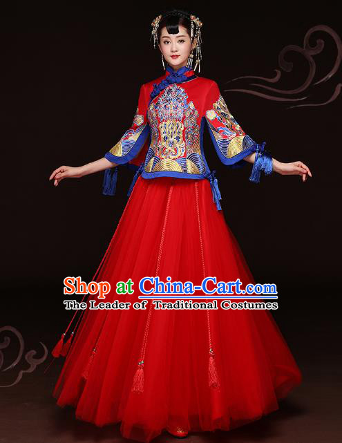 Traditional Ancient Chinese Wedding Costume Handmade Delicacy Embroidery XiuHe Suits Red Bottom Drawer, Chinese Style Hanfu Wedding Bride Toast Cheongsam for Women