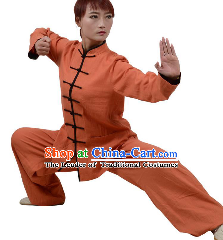 Top Kung Fu Linen Costume Martial Arts Costume Kung Fu Training Clothing, Tai Ji Plated Buttons Orange Uniform Gongfu Wushu Clothing for Women for Men