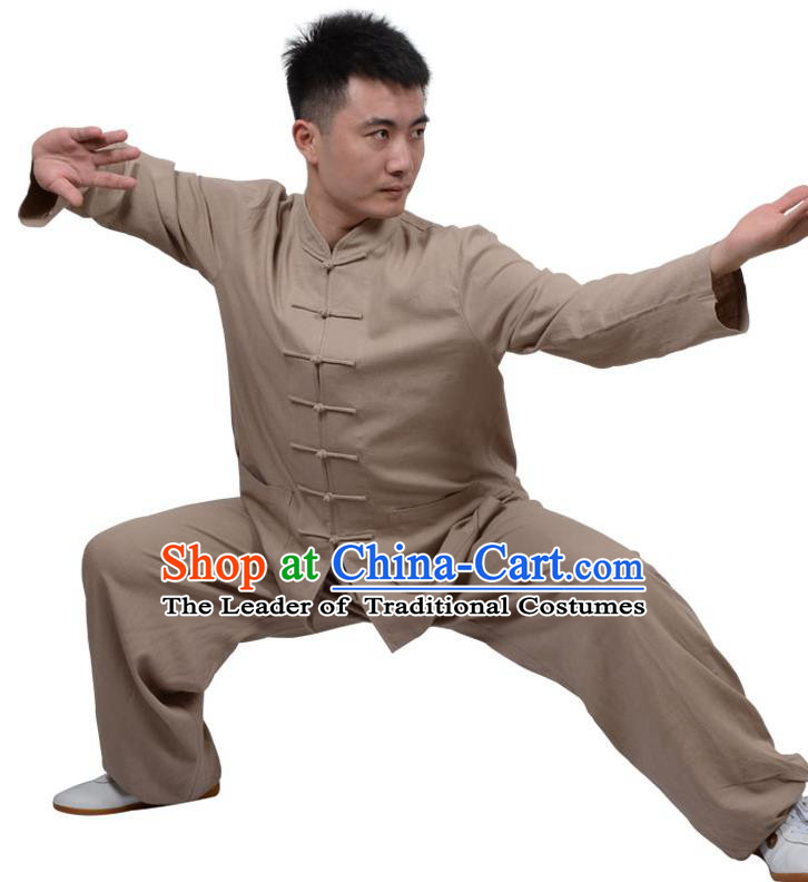 Top Kung Fu Linen Costume Martial Arts Costume Kung Fu Training Clothing, Tai Ji Plated Buttons Brown Uniform Gongfu Wushu Clothing for Women for Men