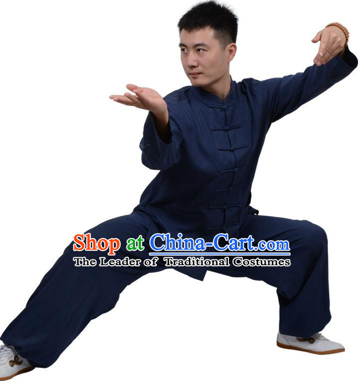 Top Kung Fu Linen Costume Martial Arts Costume Kung Fu Training Clothing, Tai Ji Plated Buttons Navy Uniform Gongfu Wushu Clothing for Women for Men