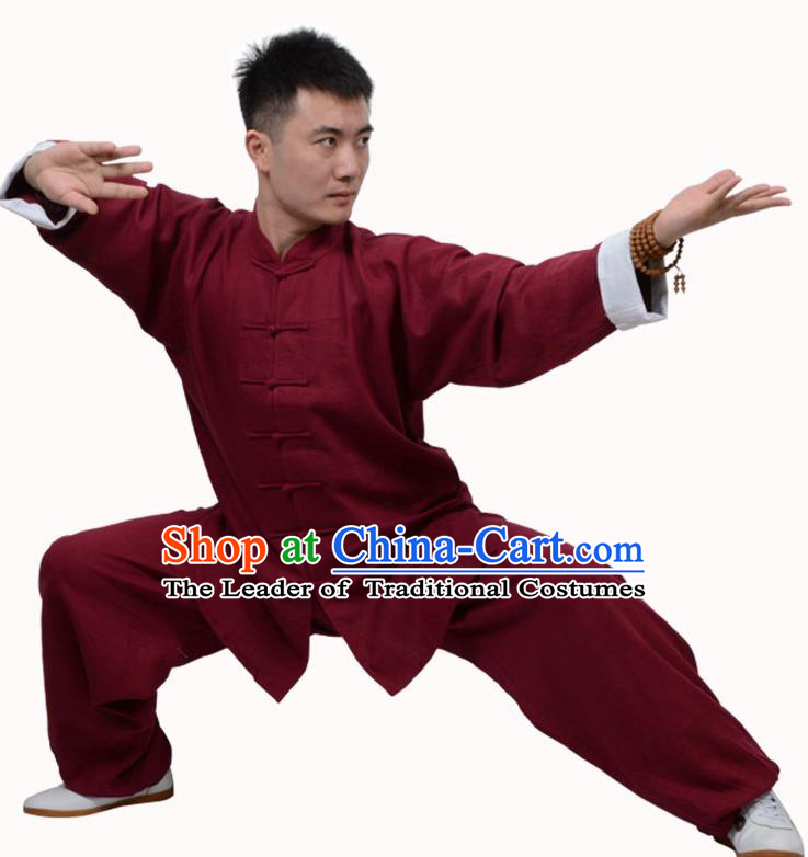Top Martial Arts Costume Kung Fu Training Clothing, Tai Ji Plated Buttons Red Uniform Gongfu Wushu Costume  for Women for Men