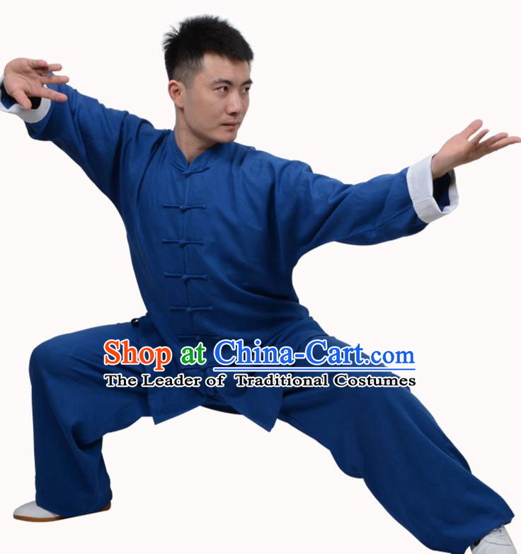 Top Martial Arts Costume Kung Fu Training Clothing, Tai Ji Plated Buttons Blue Uniform Gongfu Wushu Costume  for Women for Men