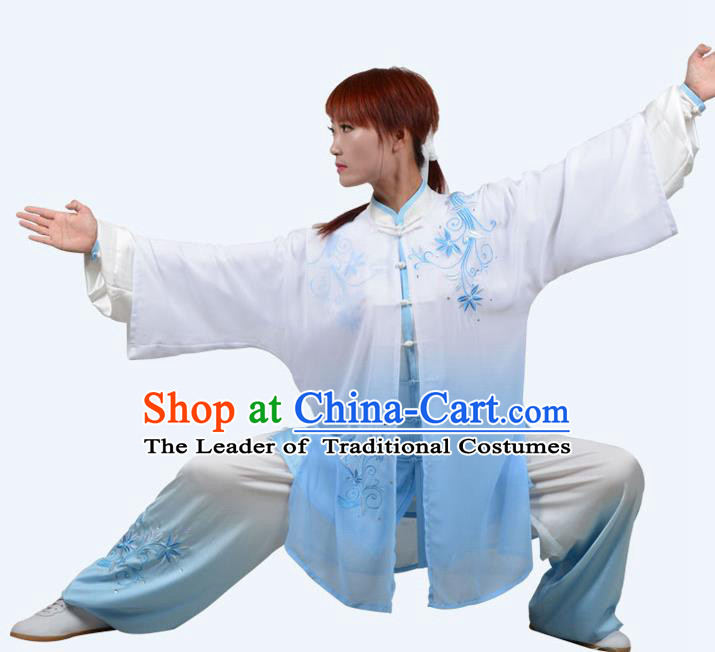 Top Grade Martial Arts Costume Kung Fu Training Clothing, Tai Ji Embroidery Blue Uniform Gongfu Wushu Costume  for Women for Men