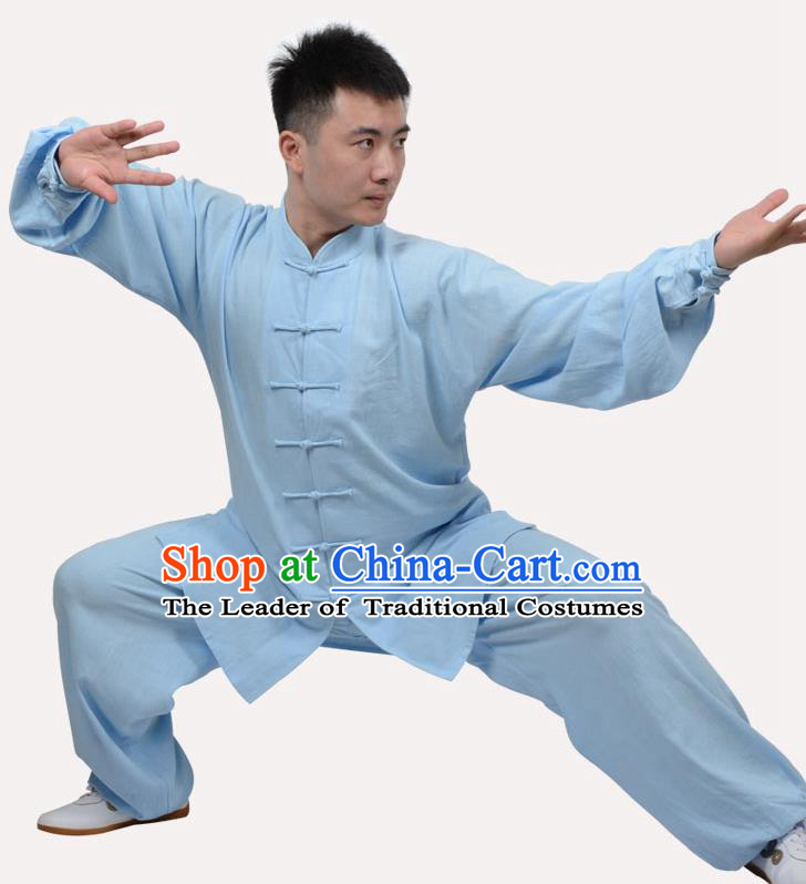 Top Grade Linen Martial Arts Costume Kung Fu Training Clothing, Tai Ji Embroidery Blue Uniform Gongfu Wushu Costume  for Women for Men