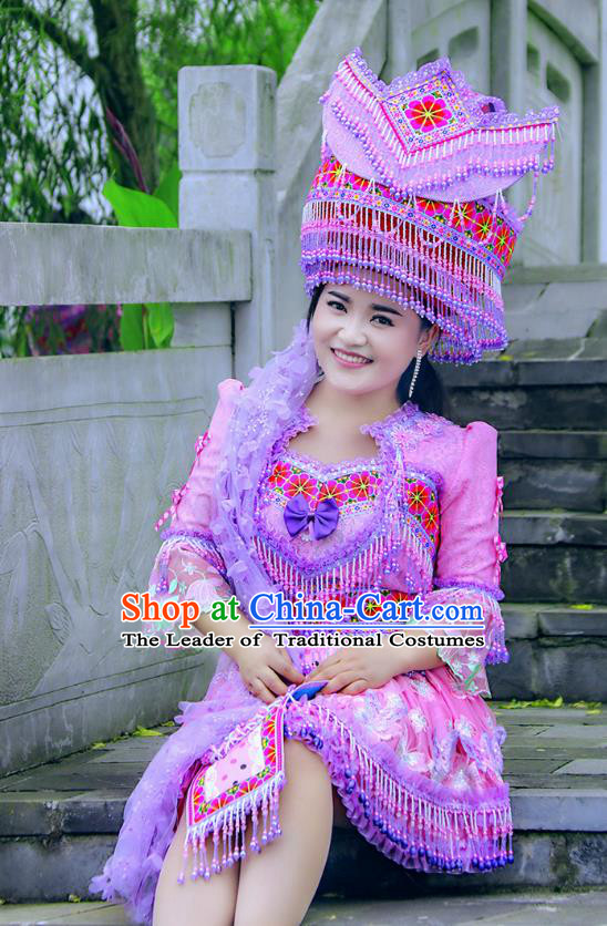Traditional Chinese Miao Nationality Costume and Hat, Hmong Folk Dance Ethnic Purple Pleated Skirt, Chinese Minority Nationality Embroidery Clothing and Headwear for Women