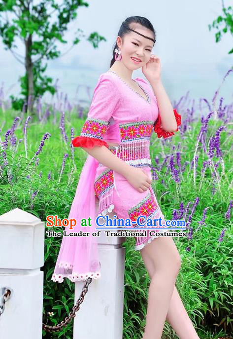Traditional Chinese Miao Nationality Costume, Hmong Folk Dance Ethnic Pink Short Tassel Skirt, Chinese Minority Nationality Embroidery Clothing for Women