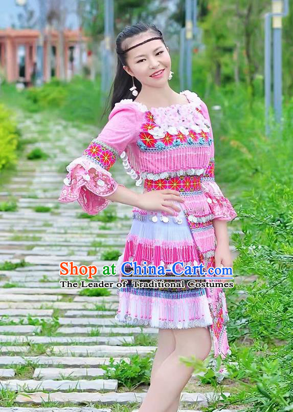 Traditional Chinese Miao Nationality Costume, Hmong Folk Dance Ethnic Pink Short Tassel Pleated Skirt, Chinese Minority Nationality Embroidery Clothing for Women