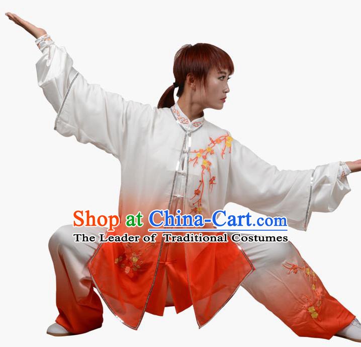 Top Grade Linen Martial Arts Costume Kung Fu Training Embroidered Plum Blossom Clothing, Tai Ji Southern Fist Orange Three-piece Uniform Gongfu Wushu Costume for Women for Men