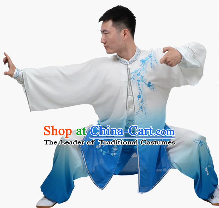 Top Grade Linen Martial Arts Costume Kung Fu Training Embroidered Plum Blossom Clothing, Tai Ji Southern Fist Blue Three-piece Uniform Gongfu Wushu Costume for Women for Men