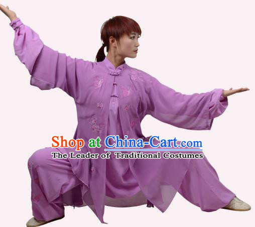 Top Grade Linen Martial Arts Costume Kung Fu Training Embroidery Plated Buttons Clothing, Tai Ji Deep Purple Uniform Gongfu Wushu Costume for Women for Men