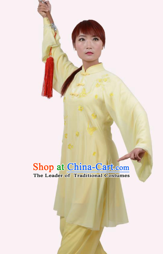 Top Grade Linen Martial Arts Costume Kung Fu Training Embroidery Plated Buttons Clothing, Tai Ji Yellow Uniform Gongfu Wushu Costume for Women for Men