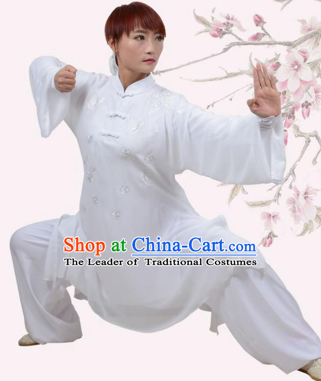 Top Grade Martial Arts Costume Kung Fu Training Embroidery Plated Buttons White Clothing, Tai Ji Uniform Gongfu Wushu Costume for Women for Men