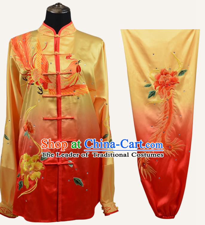 Top Grade Martial Arts Costume Kung Fu Training Embroidery Phoenix Plated Buttons Yellow Clothing, Tai Ji Uniform Gongfu Wushu Costume for Women