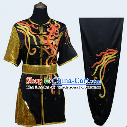 Top Grade Martial Arts Costume Kung Fu Training Embroidery Black Clothing, Long Fist Tai Ji Uniform Gongfu Wushu Costume for Women for Men