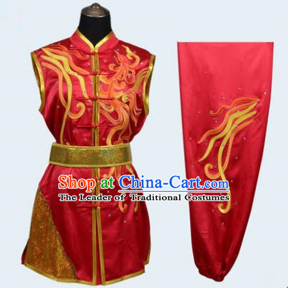 Top Grade Martial Arts Costume Kung Fu Training Embroidery Red Clothing, Long Fist Tai Ji Uniform Gongfu Wushu Costume for Women for Men