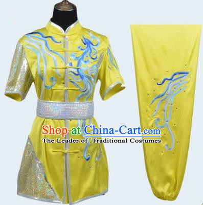 Top Grade Martial Arts Costume Kung Fu Training Embroidery Yellow Clothing, Long Fist Tai Ji Uniform Gongfu Wushu Costume for Women for Men