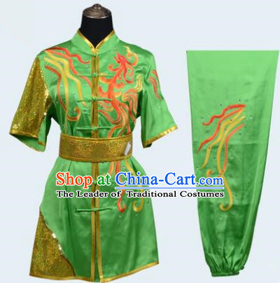 Top Grade Martial Arts Costume Kung Fu Training Long Fist Clothing, Tai Ji Green Embroidery Uniform Gongfu Wushu Costume for Women for Men