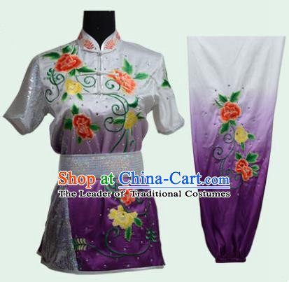 Top Grade Martial Arts Costume Kung Fu Training Long Fist Clothing, Tai Ji Embroidery Peony Purple Uniform Gongfu Wushu Costume for Women