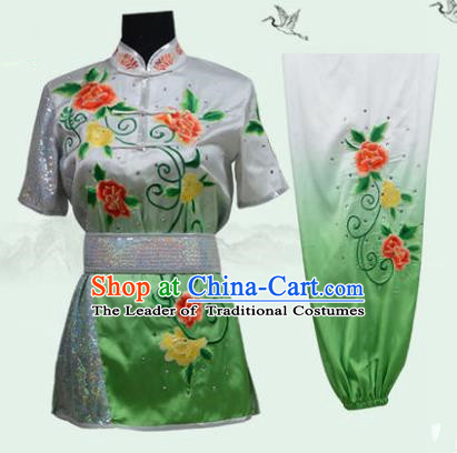 Top Grade Martial Arts Costume Kung Fu Training Long Fist Clothing, Tai Ji Embroidery Peony Green Uniform Gongfu Wushu Costume for Women